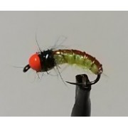 Green Caddis with Orange Tungsten Beads